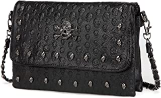 Womens Skull Print Rivet PU Leather Shoulder Bags Tote Purse Handbag (Black Style-1)