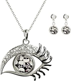 KingCow Custom Glass Image Noosa Snap Charm Women's Eye Crystal Necklace Pendant 2pcs Earring Studs Jewelry Set