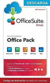 OfficeSuite Group - DESCARGA / Licencia Online - Compatible con Office Word® Excel® y PowerPoint® y PDF para PC Windows 10 8.1 8 7 - Licencia de 1 año, 5 usuarios