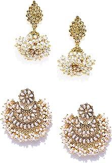 ZAVERI PEARLS Golden Non Precious Metal Dangler Earrings for Women (ZPFK9040)