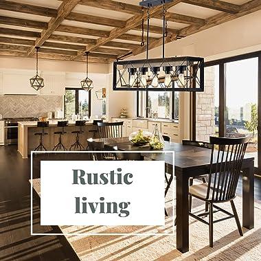 Farmhouse Chandelier - Dining Room Lighting Fixtures Hanging, Kitchen Island Lighting, Rustic Chandelier Light Fixture