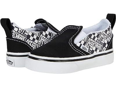 Vans Kids Slip-On V (Infant/Toddler) ((Off The Wall) Black/Asphalt) Boys Shoes