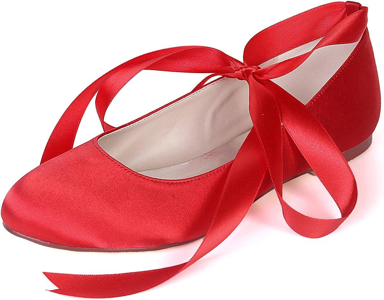 Elobaby Damen Elfenbein Satin Brautschuhe Flache Runde Satin Geschlossene Spitze Mary Jane   0,6 cm Absatz