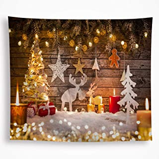 VAKADO Merry Christmas Elements Tapestry Wall Hanging Xmas Tree Reindeer Snow Stars Lights Candles Wall Art Blanket Decor for Kids Nursery Dorm Party 51