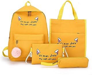 School Backpack Set 4 Pieces Set School Bag Purse Junior High School Girl Backpack