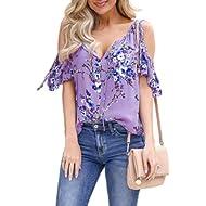 AlvaQ Women Floral Print Shirts V Neck Short Sleeve Cold Shoulder Tops Blouses