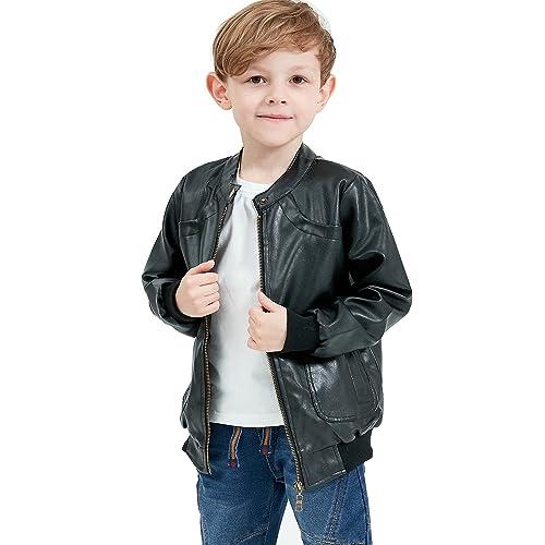 43b1a25ec4e5dd Grandwish Boys Faux Leather Jacket Trendy Stand Collar Coat 3-14 Years