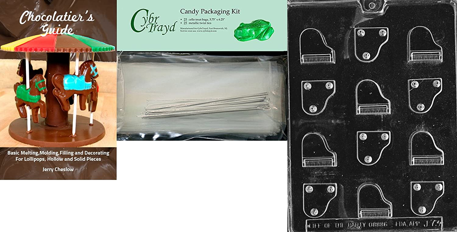 Cybrtrayd Piano Jobs Chocolate Candy Mold//Packaging Bundle of 25 Cello Bags 25 Silver Twist Ties and Chocolate-Molding Instructions