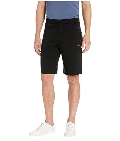 Lacoste Solid Bermuda Shorts Silicon Croc Lacoste Badge at Bottoms Leg Motion (Black) Men