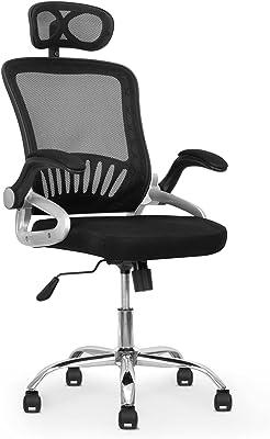 Onof Silla de Oficina con Descansabrazos Ajustable y Reposacabezas Soporte Lumbar Ergonomica para Escritorio con Malla Transpirable