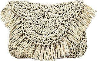 Bolsos de paja de verano Bolsos de hombro de playa con borlas hechas a mano, Mini bolso de mano de vacaciones de ratán tej...