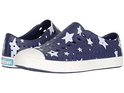 Native Shoes Jefferson Print (Regatta Blue/Shell White/Multi Stars) Athletic Shoes