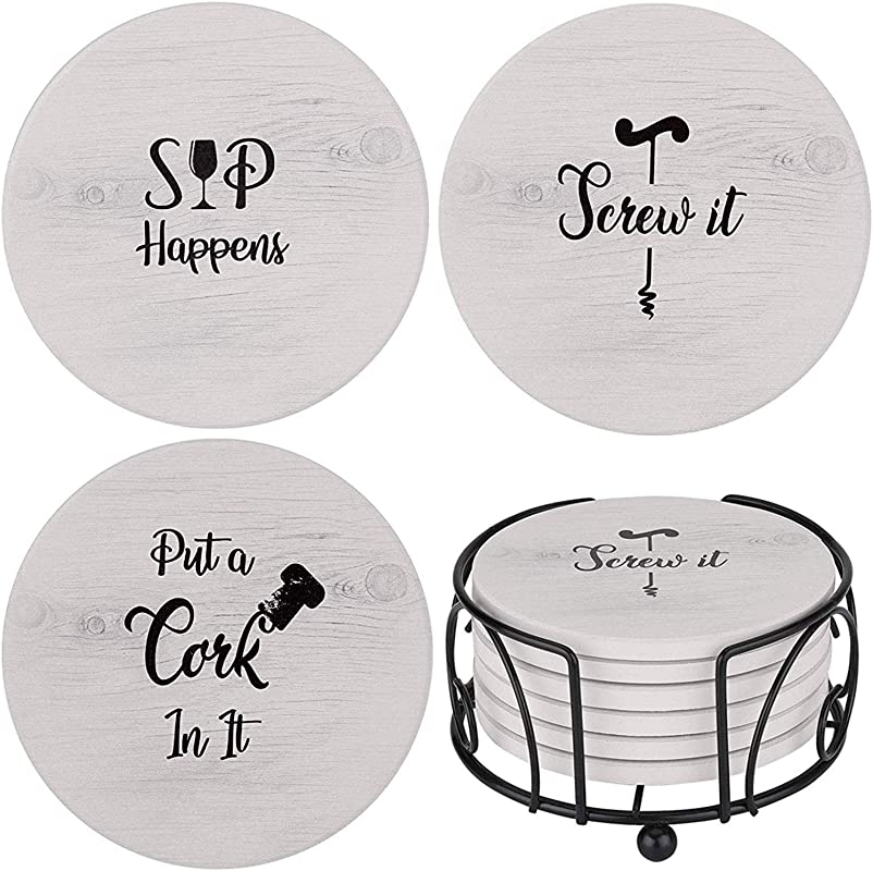 Funny Coasters For Drinks Absorbents With Holder 6 Pcs Gift Set With 3 Funny Sayings For Wine Lovers Ceramic Stone With Corked Back Unique Present For Housewarming Living Room Decor