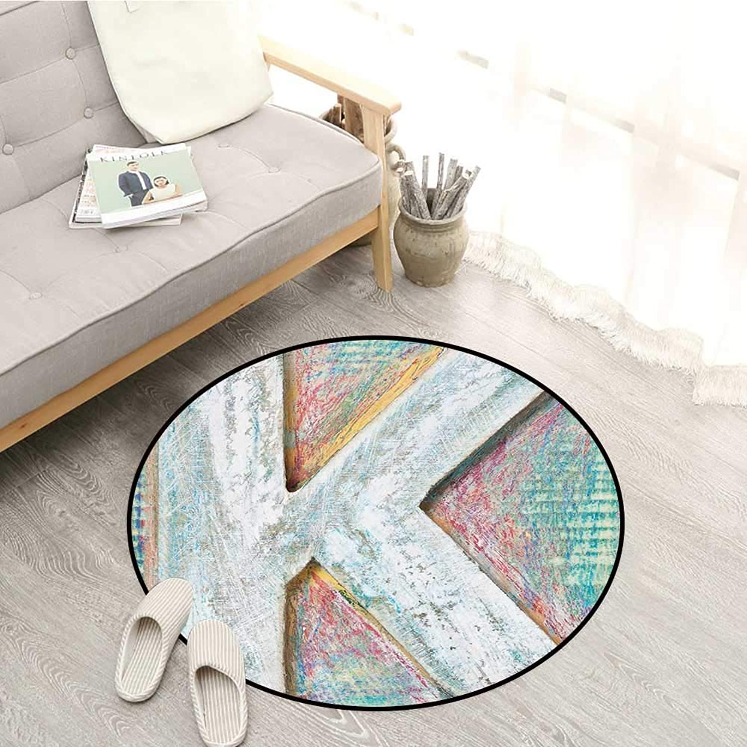 Letter K Kids Rugs Scratched Looking Typographic Element Uppercase K Printing Theme Rough Vintage Sofa Coffee Table Mat 4'3  Multicolor