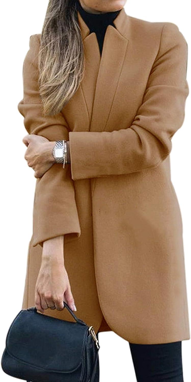 CinShein Women Peacoat Trench Coat Lape Mid Overcoat Long Translated Austin Mall Casual