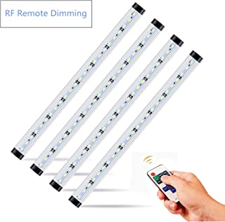 NEWCITY LED Under Cabinet Lighting Kit: 4pcs Extendable Under Counter LED Light Bars Pure White 6500K, Dimmable RF Remote Control for,Cupboard, Wardrobe,Locker,ounter,Closet Lighting with.