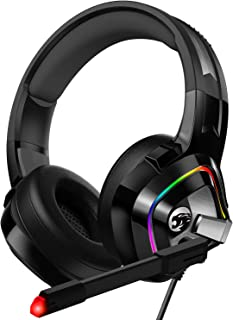 ZIUMIER Gaming Headset Xbox One Headset, PS4 Headset with Noise Canceling Mic and RGB Light, PC Headset with Bass Surround Sound, Over-Ear Wired Headphones for PC, PS4, Xbox One, Laptop