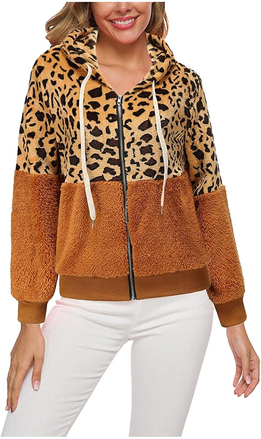 FGDJEE Cardigan Sweaters for Women Hooded Drawstring Sweatshirts Winter Thick Wool Leopard Printed Sweater with Pockets