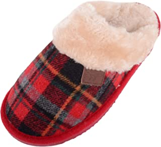 Absolute Footwear Womens Slip On Tartan Faux Fur Slippers/Shoes/Mules