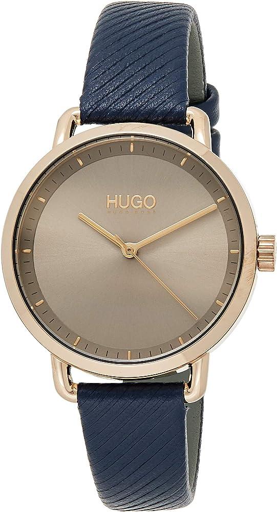 Hugo boss, orologio per donna, in accio inossidabile e cinturino in vera pelle 1540054