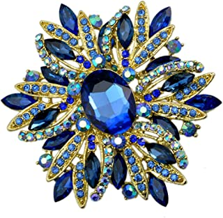 "SELOVO 3.5"" Huge Big Large Brooch Scarf Hats Decoration Blue Flower Pin Gold Tone"