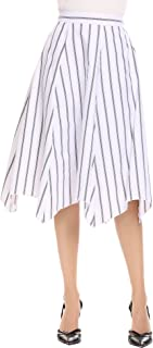 Zeagoo Women's High Waist Pleated A Line Striped Swing Midi Skirt