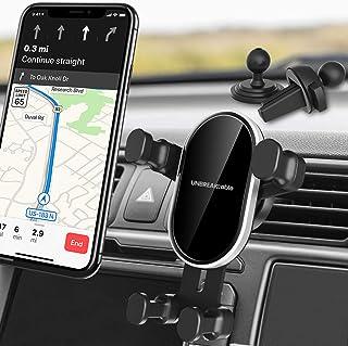 UNBREAKcable Soporte Móvil Coche con Auto Bloqueo por Gravedad Soporte para Teléfono Móvil【2 en -1】para Tablero de ventilación Compatible para iPhone XS XR 8 7, Samsung S9, Xiaomi, Google, Huawei