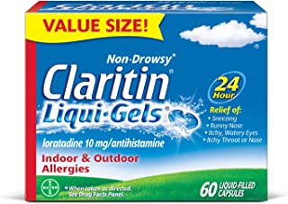 Claritin Indoor and Outdoor Allergies, luquid-Filled Capsules, 60 Count