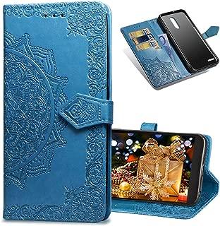 COTDINFORCA LG K20 Plus Wallet Case, Slim Premium PU Flip Cover Mandala Embossed Full Body Protection with Card Holder Magnetic Closure for LG K10 2017 / LG LV5. SD Mandala - Blue