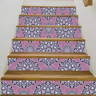 YOLIYANA Purple Mandala 3D Stairway Floor Wall Sticke