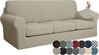 ZNSAYOTX 4 Piece Jacquard Couch Covers for 3 Cushion Couch Super Stretch Thick Soft Sofa Cover Anti Slip Elastic Sofa Slip...