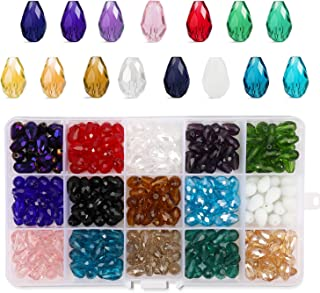 Phogary 300pcs Glass Beads, Mixed Colors Crystal Teardrop Beads Assorted Kit Multi-Colors Lustered Loose Spacer Beads, 812mm Waterdrop Shape for Jewelry Making, DIY Crafting (15 Colors)