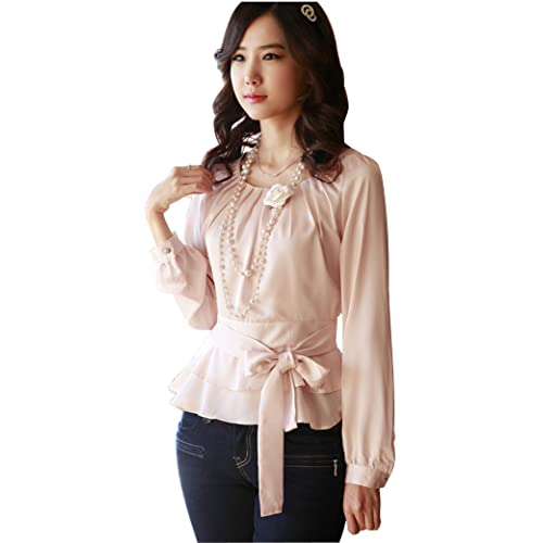 929452e725f4 Double Plus Open DPO Women's Satin Long Sleeve Tops Pleated Slim Round Neck  Blouse