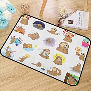 GUUVOR Sloth Commercial Grade Entrance mat Set of Manga Style Sloth Characters with Different Expression and Poses Cute Humorous for entrances garages patios W35.4 x L47.2 Inch Multicolor