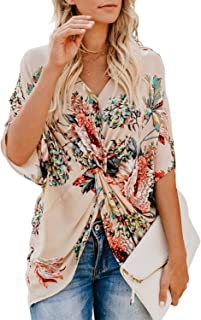 Women's Floral Print Short Sleeve V Neck Ruched Twist Tops Loose Casual Blouse Shirts
