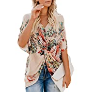 ZKESS Womens Casual Short Sleeve V Neck Ruched Twist Floral Tunic Tops for Women Shirts Tops and...