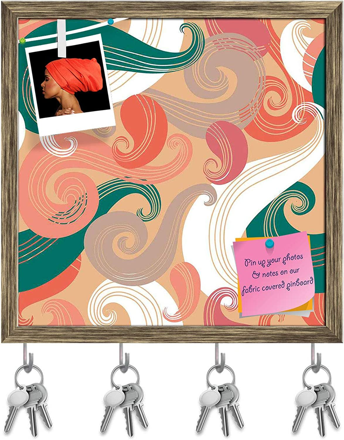Artzfolio colorful Wave Key Holder Hooks   Notice Pin Board   Antique golden Frame 20 X 20Inch