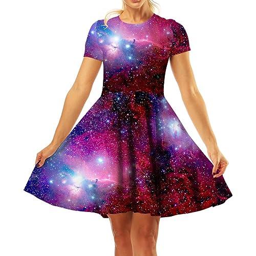 c2c6879436e GLUDEAR Women s 3D Print Short Sleeve Unique Casual Flared Midi Dress