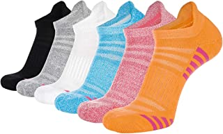Bodvera Women's 6 Pack Performance Ankle Athletic Running Socks Cushioned Breathable Low Cut Sports Tab Socks
