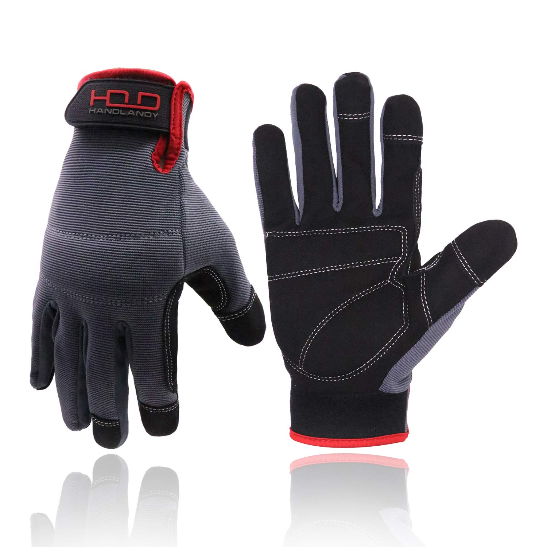 NEW Heavy Duty Tan Mechanics Work Gloves Reinforced Palm Synthetic Leather