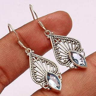 Orecchini pendenti in argento sterling con pietre preziose blu-topazio per donne e ragazze, orecchini con castone per orec...