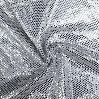 Faux Sequin Knit Fabric Shiny Dot Confetti for Sewing Costumes Apparel Crafts by The Yard (5 Yards, Silver)