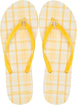 4f5b2a8be2d34 Tory Burch. Printed Thin Flip-Flop.  58.00. Sunlight Yellow Check in Plaid