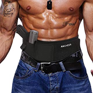Ferty Belly Band Hand Abdomen Holster Comfortable Breathable Neoprene Material - Cross Draw - Right or Left Hand - Concealed Carry Non-Slip with Calf Strap Ankle Holster