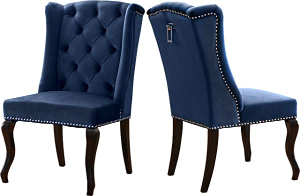 Meridian Furniture 772Navy C Suri Collection Modern Contemporary Navy Velvet Upholstered Dining Chair Wood Legs Luxurious Button Tufting Nailhead Trim Set Of 2 23 W X 26 D X 41 H