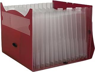 "Mead Expanding File Folder, School Organizer, Paper Organizer, 13-Pocket, 9"" x 13"", Expandables Convert-A-File, Red (38549)"