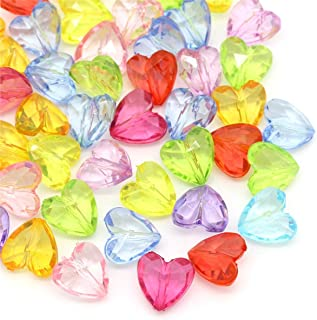100pcs 12x12mm Mixed Transparent Acrylic Beads Heart Shape