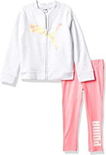 PUMA Baby Girls' Zip Up Jacket & Legging, White, 4