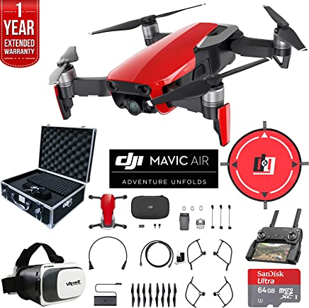 $799 Get DJI Mavic Air (Flame Red) Drone Combo 4K Wi-Fi Quadcopter with Remote Controller Deluxe Fly Bundle with Hard Case VR Goggles Landing Pad 64GB microSDXC Card and 1 Year Warranty Extension