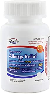 Allergy Relief LORATADINE 10MG ANTIHISTAMINE 300 Tablets by Camber